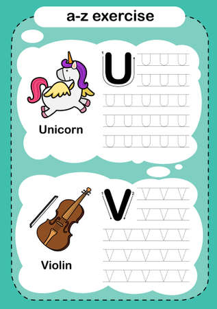 Alphabet Letter U - V exercise with cartoon vocabulary illustration, vector