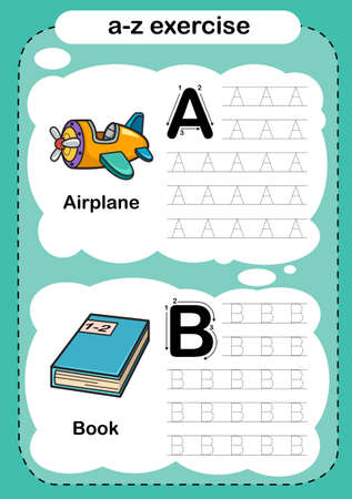 Alphabet Letter A -B exercise with cartoon vocabulary illustration, vector 向量圖像