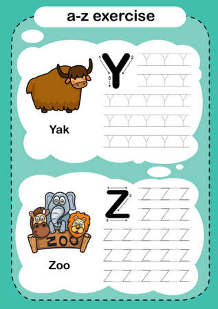 Alphabet Letter Y - Z exercise with cartoon vocabulary illustration, vector 向量圖像