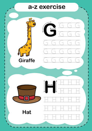 Alphabet Letter G - H exercise with cartoon vocabulary illustration, vector 向量圖像