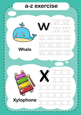 Alphabet Letter W - X exercise with cartoon vocabulary illustration, vector 向量圖像