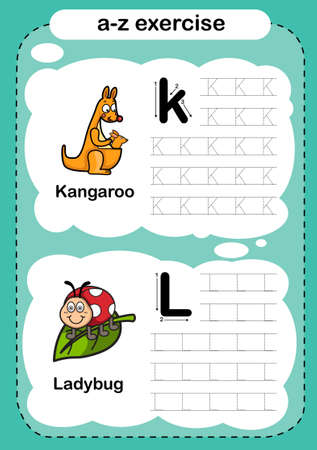 Alphabet Letter K - L exercise with cartoon vocabulary illustration, vector