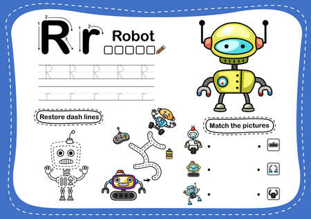 Alphabet Letter R-robot exercise with cartoon vocabulary illustration, vector