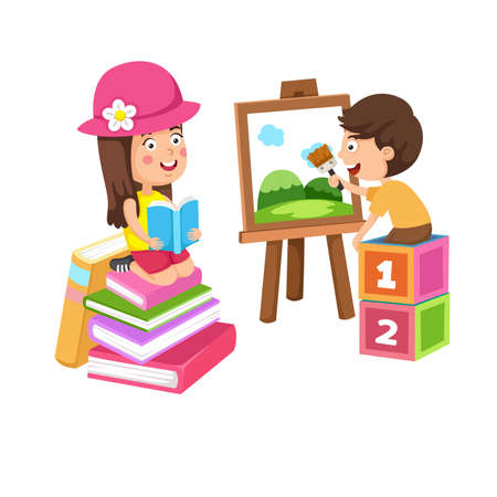 Rest and hobby of children painting and reading book vector