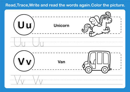 Alphabet U-V exercise with cartoon vocabulary for coloring book illustration, vector