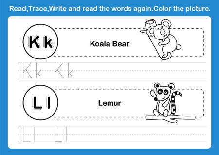 Alphabet K-L exercise with cartoon vocabulary for coloring book illustration, vector