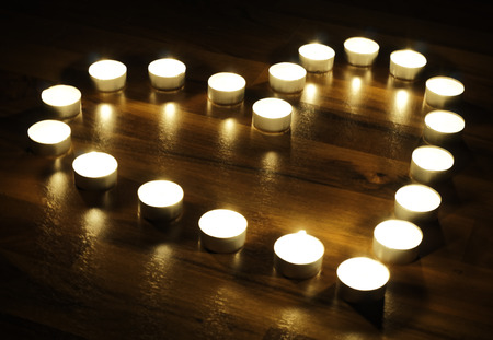 love proof: Heart made of candles