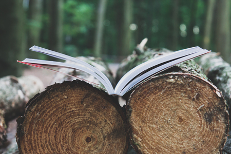 An open book lies on felled trees save trees - read ebooks concept