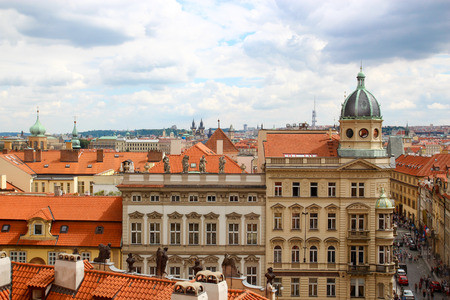 Panorama of Prague, red roofs