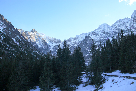 panorama of winter mountains. Tatra Poland
