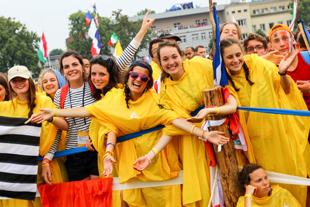 KRAKOW, POLAND -  2016:  Krakow Blonia, World Youth Day 2016, young people greet Pope Publikacyjne