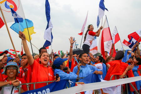 KRAKOW, POLAND -  2016:  Krakow Blonia, World Youth Day 2016, People greet Pope