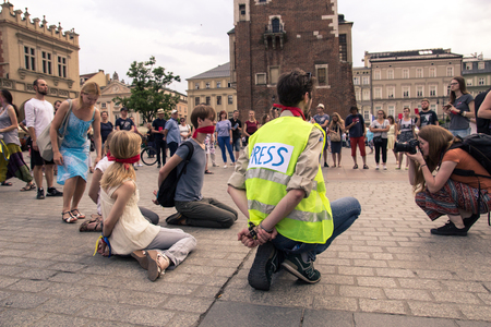 Krakow, Poland, June 01, 2018, People in the square protesting against censorship and the abolition of freedom of speech