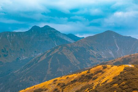 Beautiful autumn mountain landscape, concept of autumn mountain tourism Stok Fotoğraf