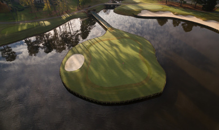 cary: An island green at a suburban golf course in Cary, NC. Stock Photo