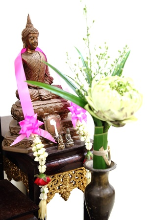 sacrifice: offer sacrifice flower to buddha image