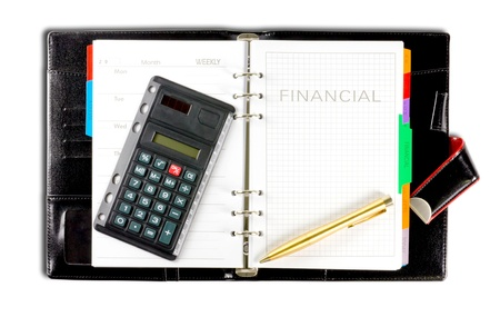 financial diary with clipping path photo