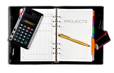 projects diary with clipping path photo