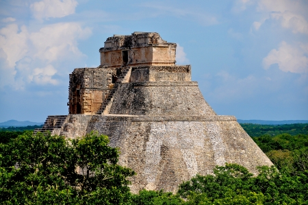 Pyramid of the Magician - Uxmal, Mexico Stock Photo