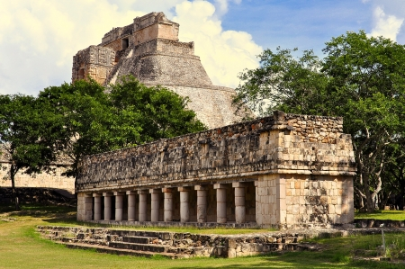 lady s: Old Lady s House and Pyramid of the Magician - Uxmal, Mexico