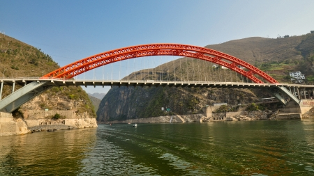 New Dragon Gate Bridge - Wushan, China Stock Photo - 14692657