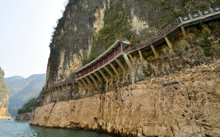 Walkway Built on Mountain Precipice in the Three Lesser Gorges - Wushan, Chongqing, China Stock Photo - 14692669