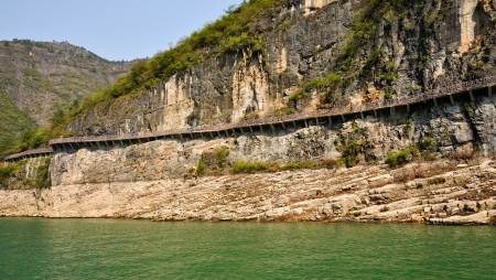 Walkway Built on Mountain Precipice in the Three Lesser Gorges - Wushan, Chongqing, China Stock Photo - 14692693
