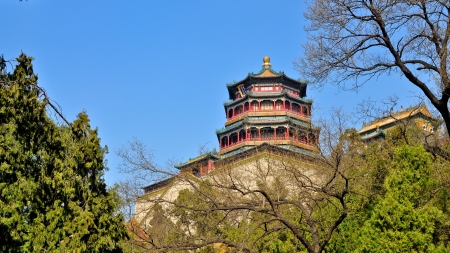 Tower of Buddhist Incense, Longevity Hill, Summer Palace - Beijing Banco de Imagens