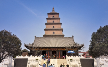 Hall of Sakyamuni With Giant Wild Goose Pagoda in Background - Xian, China