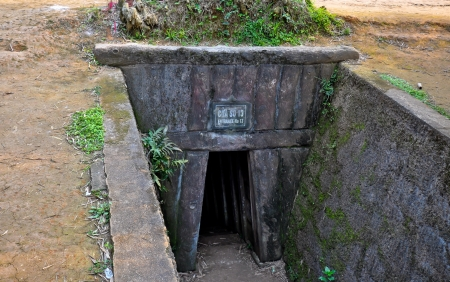 Entrance to Underground Tunnel Used During B52 Carpet Bombing - Quang Tri, Vietnam Stock fotó