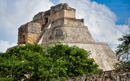 Close Up View, Pyramid of the Magician - Uxmal, Mexico Stock Photo
