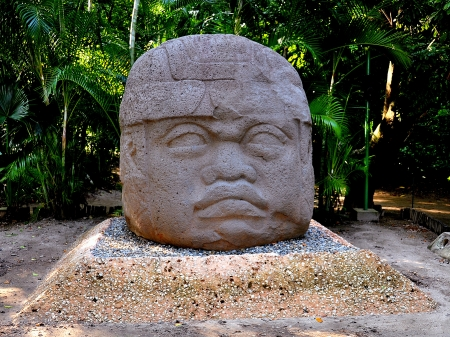 anthropological: Ancient Giant Olmec Stone Head - Villahermosa, Mexico Stock Photo