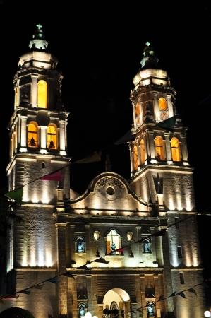 Catedral de Campeche, Inmaculada Concepci�n, en la noche - Campeche, M�xico Foto de archivo - 14773448