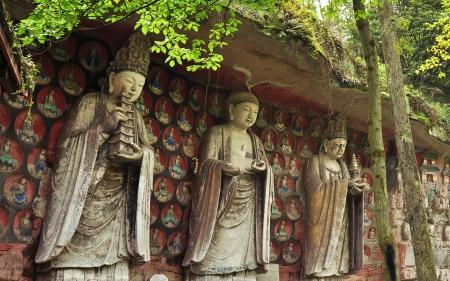 Three Worthies of Huayan, Ancient Buddhist Hillside Rock Carving - Baodingshan, Dazu, China Stock Photo - 14773522