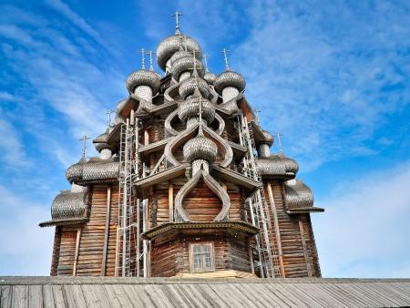 tenet: Church of Transfiguration, Wooden - Kizhi Island, Russia Stock Photo
