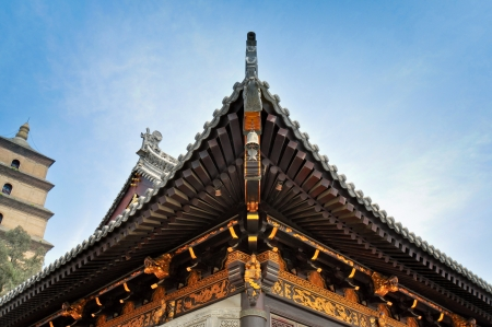 Detail, Roof and Eave of Buddhist Temple - Xian, China Banco de Imagens - 14839726
