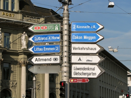 lucerne: Street Signs - Lucerne, Switzerland Editorial