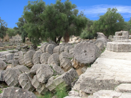 Temple Ruins - Ancient Olympia, Greece Stock Photo