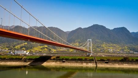 three gorges: Suspension Bridge Over Yangtze River - Sandouping, Yichang, China Stock Photo