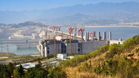 gorges: Three Gorges Dam, Sandouping, Yichang, China Stock Photo