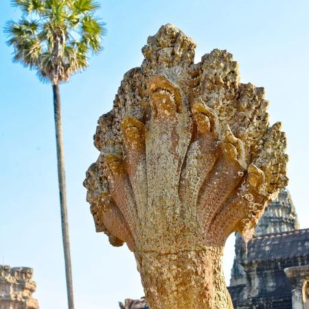 Naga, Mythical Seven-Headed Snake - Angkor Wat, Cambodia Imagens