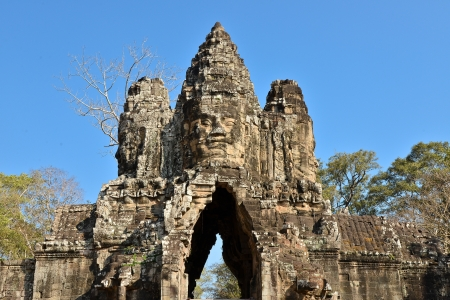 South Gate to the Angkor Thom Temple Complex - Cambodia Stock Photo
