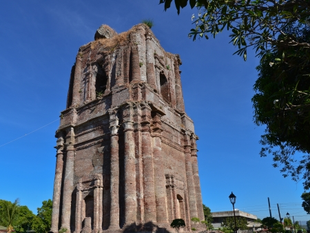 Domeless (felled by earthquake) Bell Tower of the Bacarra Church - Ilocos Norte, Philippines Stock Photo