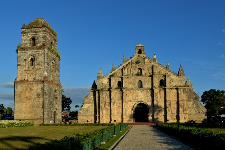 church bell: St. Augustine Church and its Bell Tower at Sundown - Ilocos Norte, Philippines
