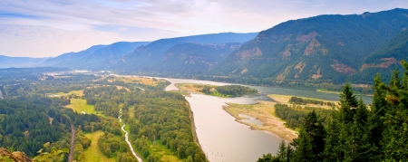 Looking East Up The Columbia River Gorge From Top of Beacon Rock - Beacon Rock State Park, WA
