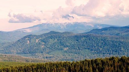 stratovolcano: Mount Hood as seen from Multnomah County, Oregon Stock Photo