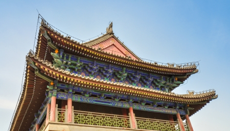 upturned: Detail, Intricate Designs of Roof and Eaves of Gate Main Tower, Walled City of Xian, China
