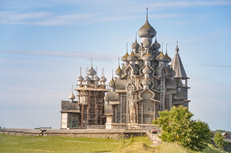 made in russia: Transfiguration Church, Made of Wood - Kizhi Island, Russia Stock Photo