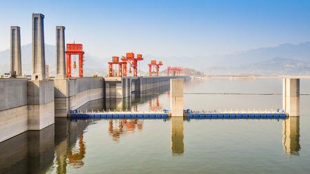three gorges dam: Lakeside View, Three Gorges Dam on a Misty Day - Sandouping, Yichang, China