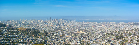 Panoramic View of San Francisco on a Hazy Afternoon - California